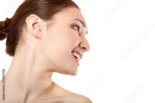 Beauty portrait of beautiful young woman face in profile