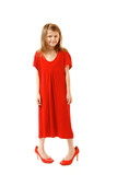 little fashion girl in mother's red dress and shoe's on high hee