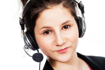 Pretty girl with headset.