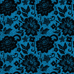 Black lace flower on blue