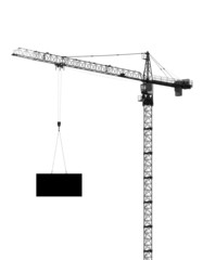 hoisting crane, silhouette on a white background