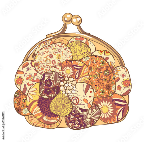 Purse with floral patterns