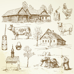 farm, rural houses - hand drawn collection