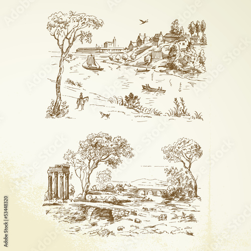 romantic landscape - hand drawn collection