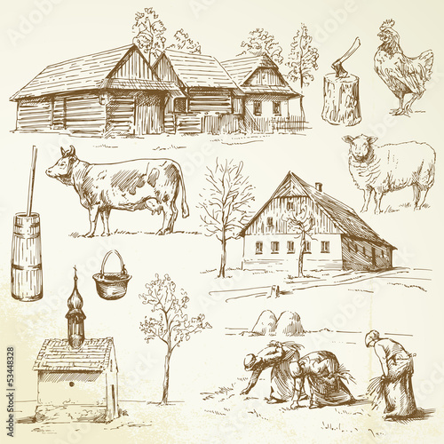 farm, rural houses - hand drawn collection - 53448328