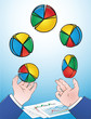 vector illustration of hands juggling pie charts