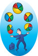 Vector Illustration of Businessman juggling Pie Charts