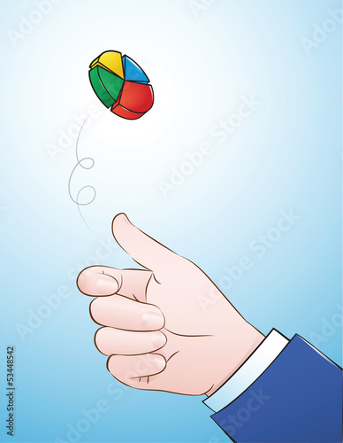 vector illustration of hand flipping pie chart coin
