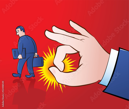 vector illustration of a giant hand flicking away an employee