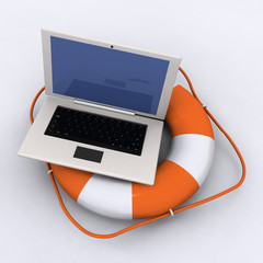 Lifebelt with laptop