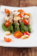 Grilled asparagus with prosciutto, moyyarella and cherrz tomatoe
