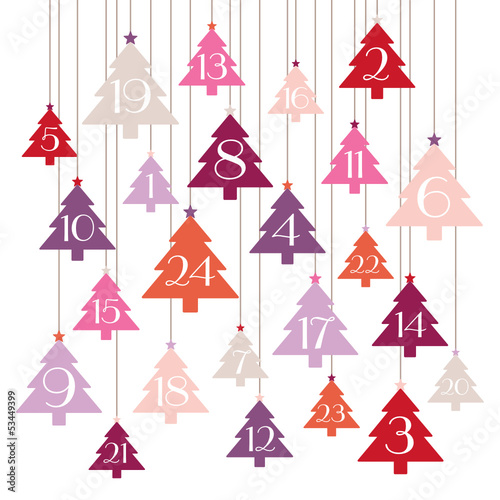 Advent Calendar Hanging Trees Pink