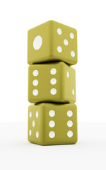 Three yellow dices isolated