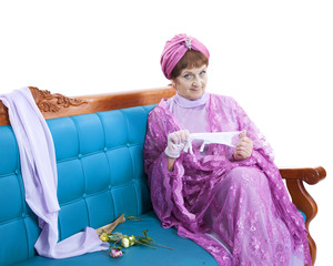 Woman sitting on the sofa
