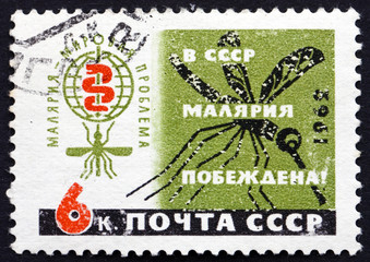 Postage stamp Russia 1962 Malaria Eradication Emblem and Mosquit