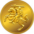 vector gold money coin with of the charging knight on horseback