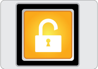 padlock yellow square web icon