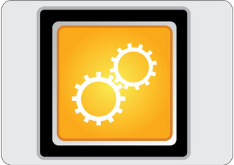 gear yellow square web icon
