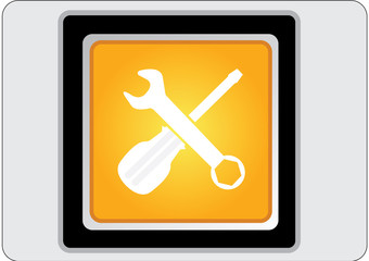 tools yellow square web icon
