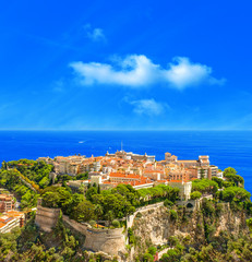 Panoramic view of Monaco. Mediterranean Sea landscape