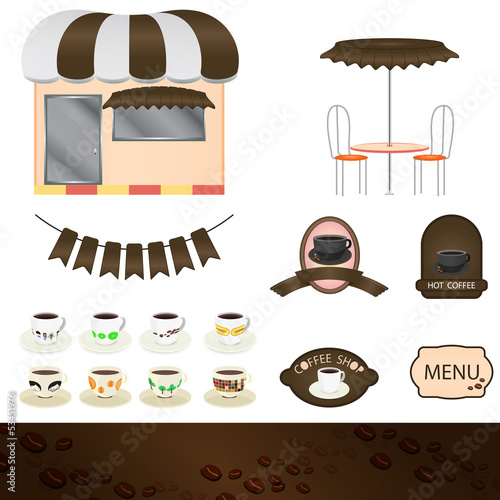 Illustration of a set of coffee shops
