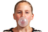 Girl blowing a  bubblegum bubble
