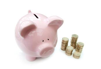 Piggybank and coins