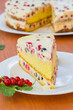 cake with cream and red currants