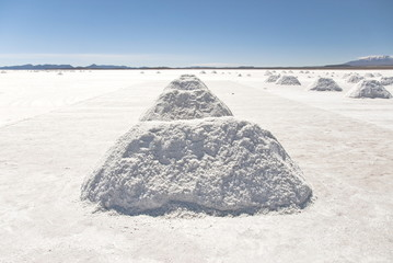 Salt extraction in Salar Uyuni, Bolivia.