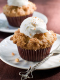 Sweet muffin with ice-cream, selective focus