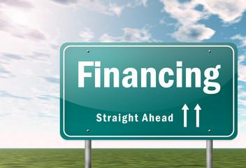 """Highway Signpost """"Financing"""""""