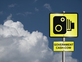 Comical government road speed camera sign