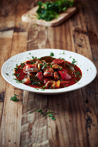 Beef goulash with mushrooms and pepper