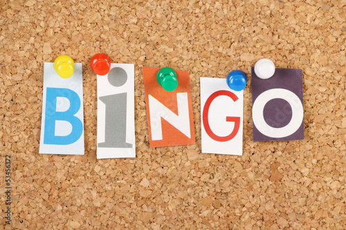 The word Bingo on a cork notice board