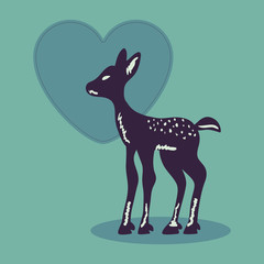 Romantic illustration with cute fawn silhouette