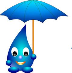 Wassertropfen mit Regenschirm