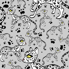 Seamless pattern with cute while ocelots