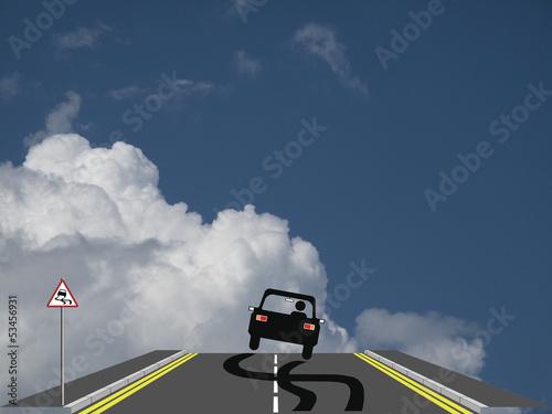 Car skidding across the road