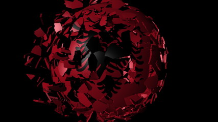 Albania flag sphere combining and breaking apart animation