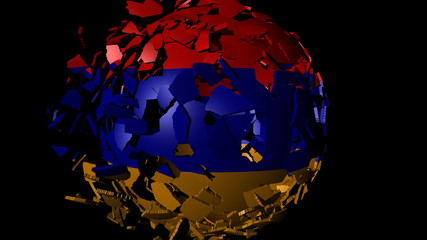 Armenia flag sphere combining and breaking apart animation