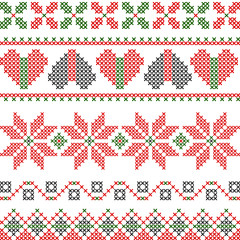 Vector cross stitch embroidery in Christmas style
