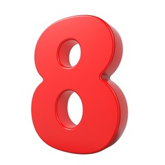 Red 3D Number.