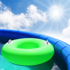 Inflatable pool with floating lifebuoy.