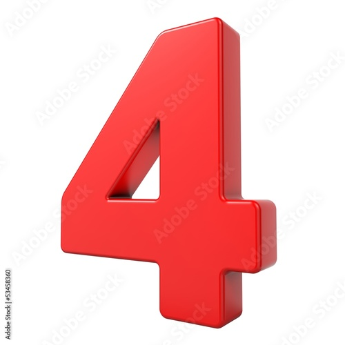 canvas print picture Red 3D Number.