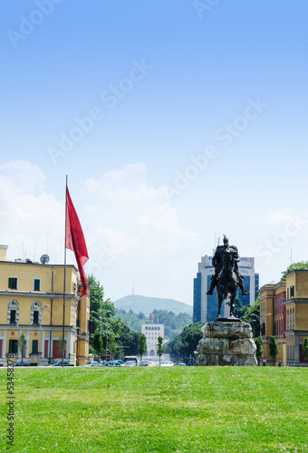 View at the main square of Tirana, Albania