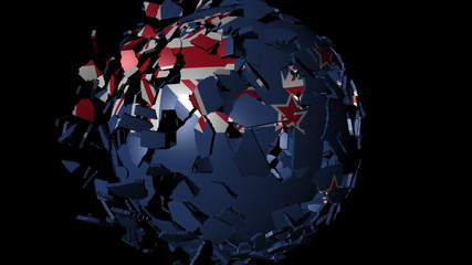 New Zealand flag sphere combining and breaking apart animation