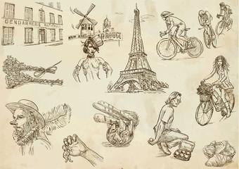 France - traveling collection 2 (hand drawings into vectors)