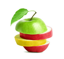 Green, red and yellow slices of apple