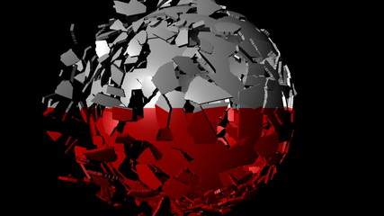 Poland flag sphere combining and breaking apart animation
