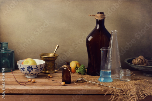Vintage farmacy still life on wooden table